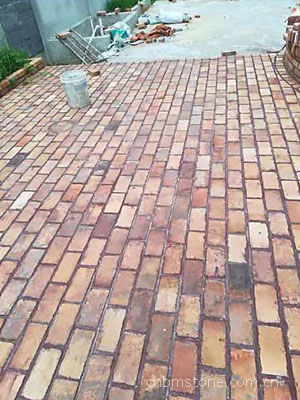reclaimed yellow refractory brick paving