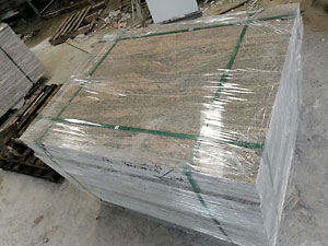 Polished slabs well-packed for export