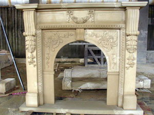 sandstone carving fireplace mantle