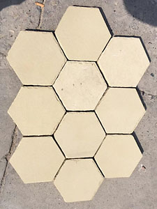 Yellow sandstone hexagon cut